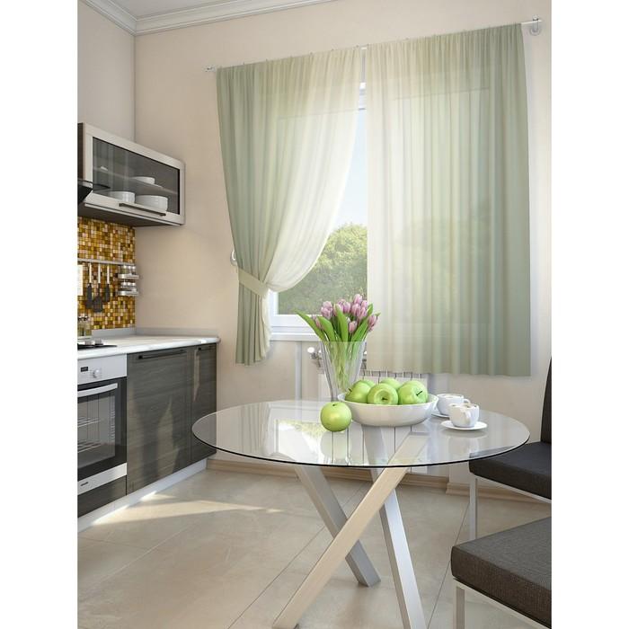 Комплект штор для кухни «Хроа», размер 150 × 180 см (2 шт.), цвет зелёный