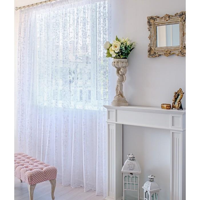 Тюль-сетка, размер 500х250 см-1 шт, цвет белый, шторная лента