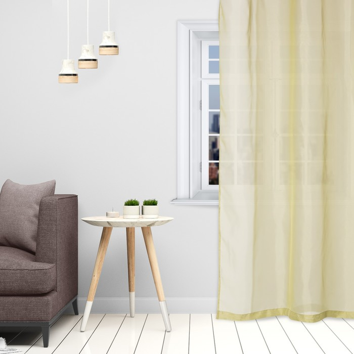 Тюль «Этель» 260×250 см, цвет оливковый, вуаль, 100% п/э
