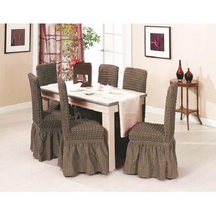 Набор чехлов на стулья DO&CO KOLTUK KILIFI - 6шт, цвет серо-коричневый
