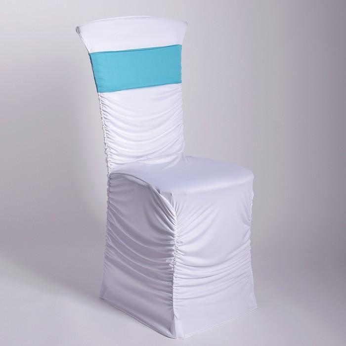 Чехол свадебный на стул, белый с голубой лентой