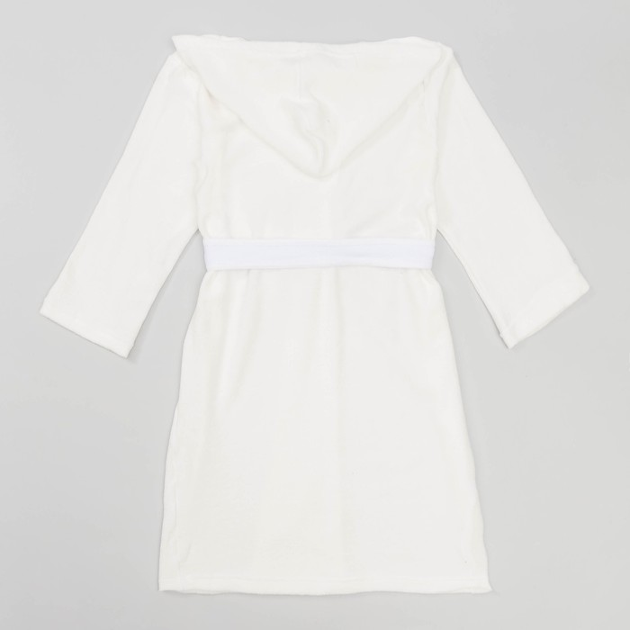 Халат махровый с капюшоном для девочки, рост 122-128 см, цвет белый 1431-64