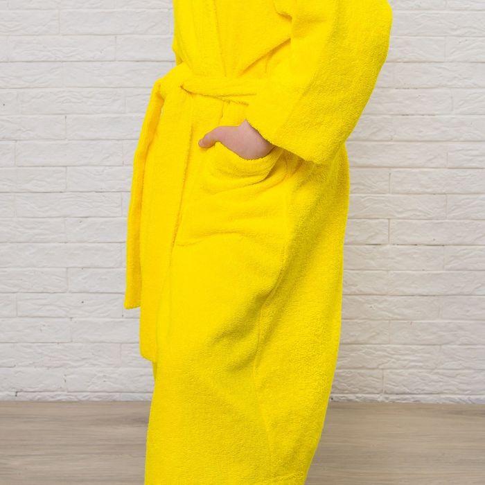 Халат махровый детский, размер 34, цвет жёлтый, 340 г/м2 хл.100% с AIRO