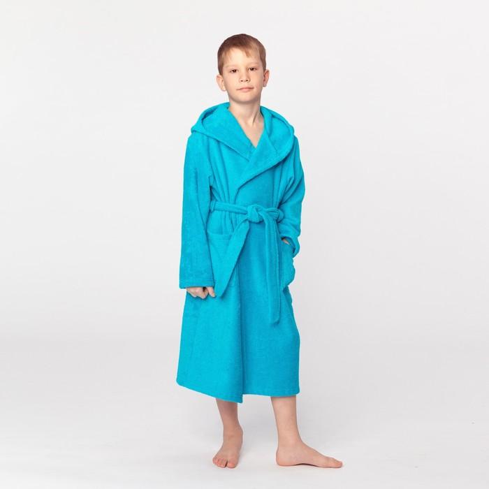Халат махровый детский, размер 34, цвет морской, 340 г/м2 хл.100% с AIRO