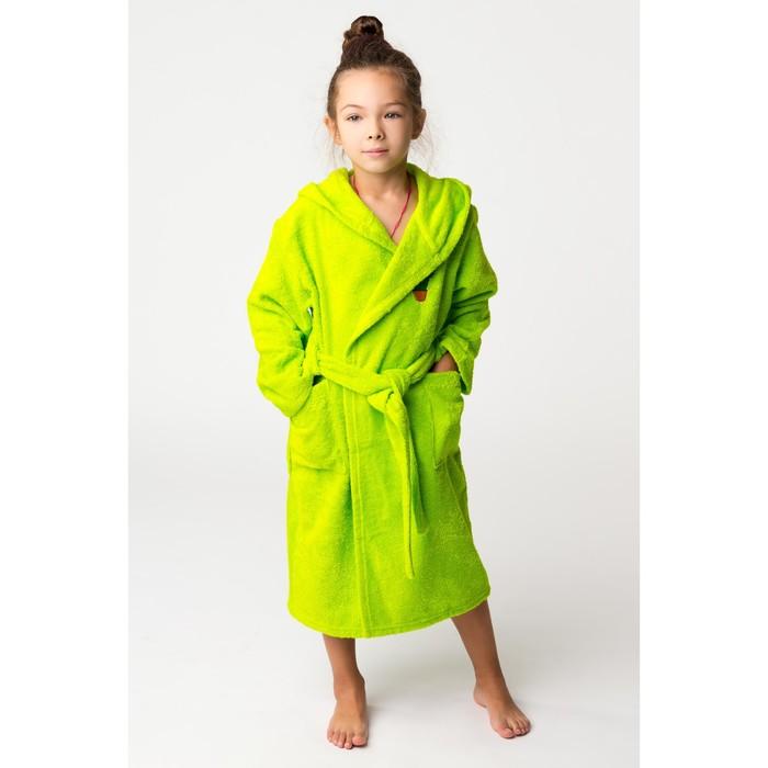 Халат махровый детский Кактус, размер 36, цвет салатовый, 340 г/м² хл. 100% с AIRO