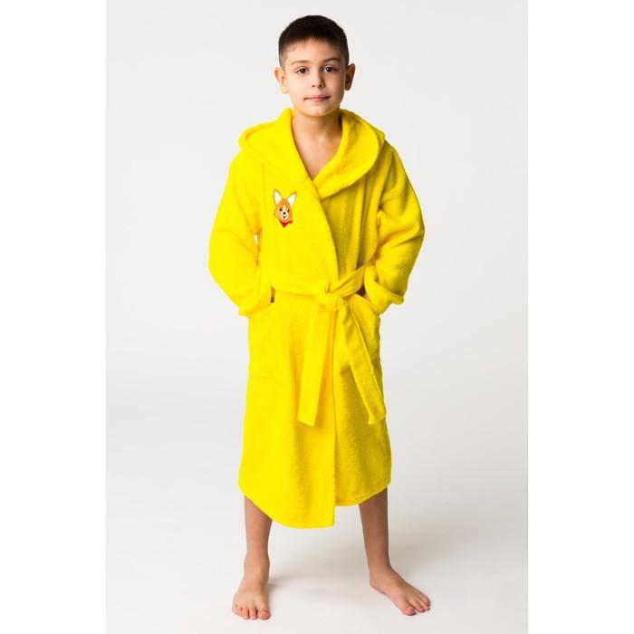 Халат махровый детский Корги, размер 36, цвет жёлтый, 340 г/м² хл. 100% с AIRO