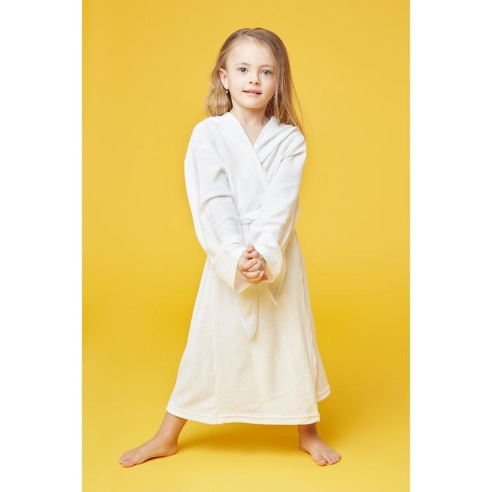 Халат махровый с капюшоном для девочки, рост 98-104 см, цвет белый 1431-56