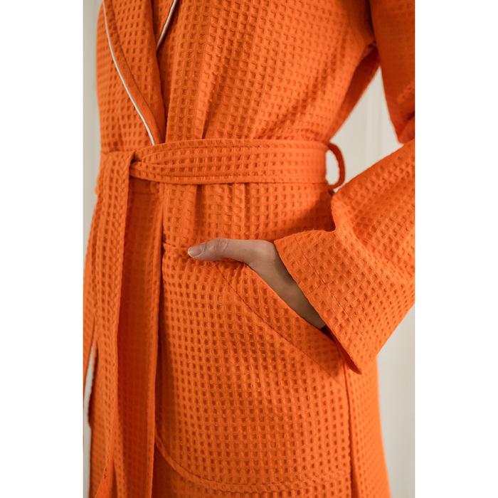 Халат женский, шалька+кант, размер 48, мандариновый, вафля