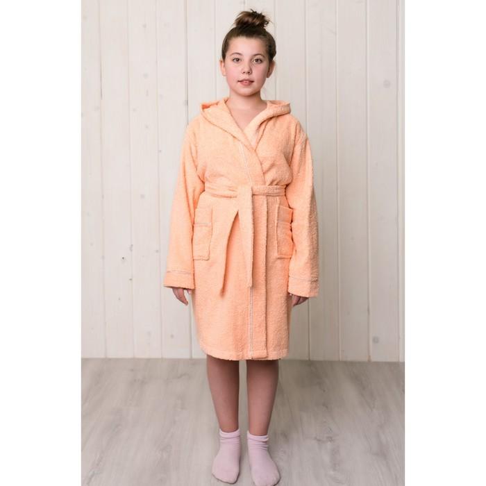 Халат для девочки с капюшоном, рост 146 см, персиковый, махра