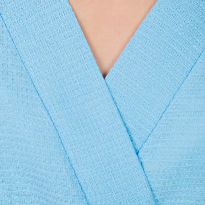 Халат вафельный запашной женский р-р 44, цв.Небесный, 160 гр/м,Хл.100%