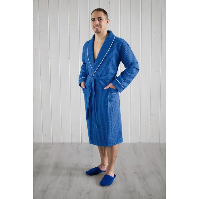 Халат мужской, шалька+кант, размер 52, синий, вафля