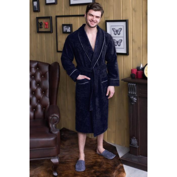 Халат мужской, шалька/кант, размер 54, тёмно-синий, махра