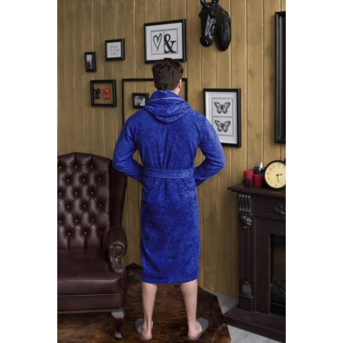 Халат мужской, капюшон+кант, размер 50, синий, махра