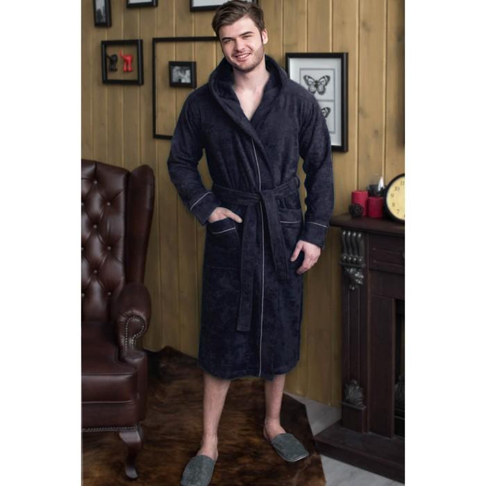 Халат мужской с капюшоном, размер 48, цвет чернильный, махра