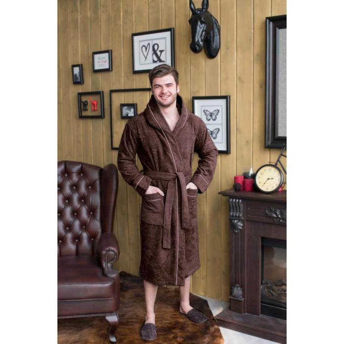 Халат мужской с капюшоном, размер 52, цвет шоколадный, махра