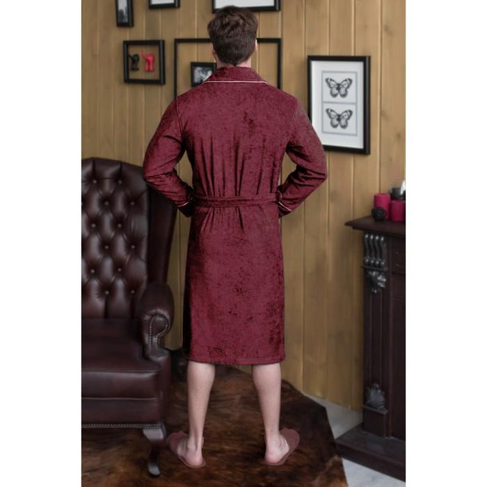 Халат мужской, шалька, размер 50, цвет бордовый, махра