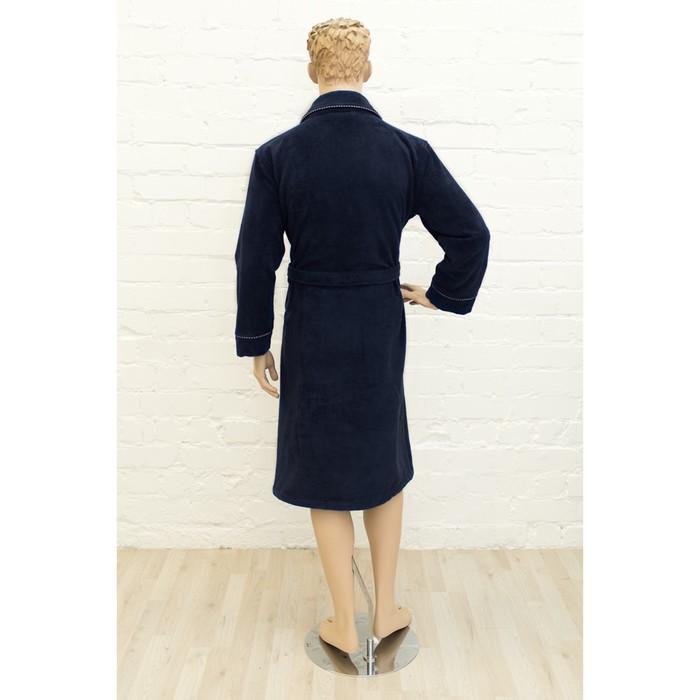 Халат мужской, размер 56, цвет синий, махра-велюр