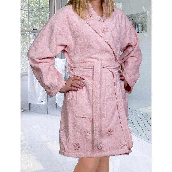 Махровый халат с вышивкой Janet, размер L, цвет пудра
