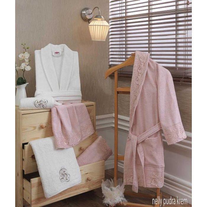 Махровый халат Nelly, размер S, цвет пудра