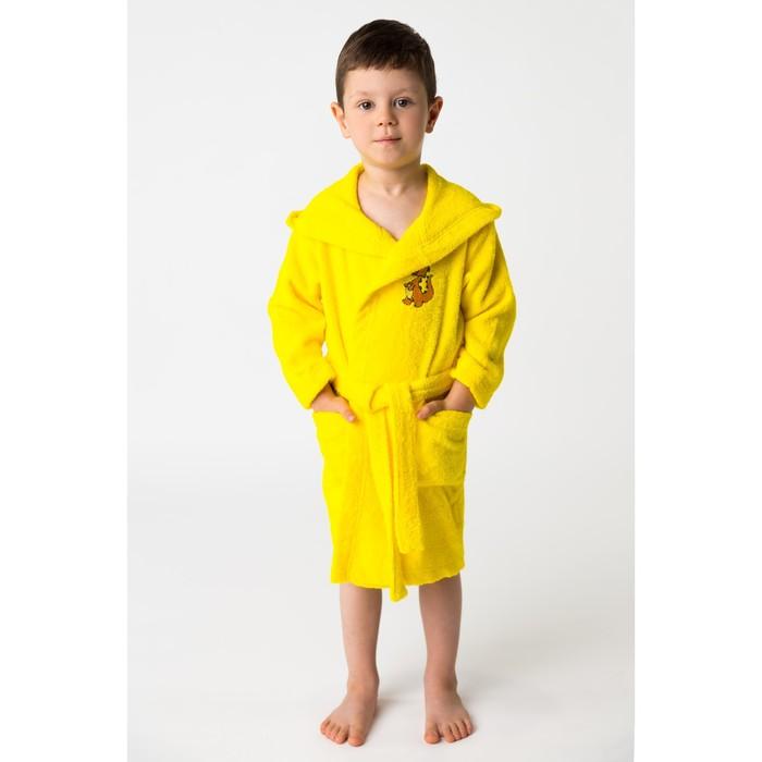 Халат махровый детский Динозаврик, размер 32, цвет жёлтый, 340 г/м² хл. 100% с AIRO