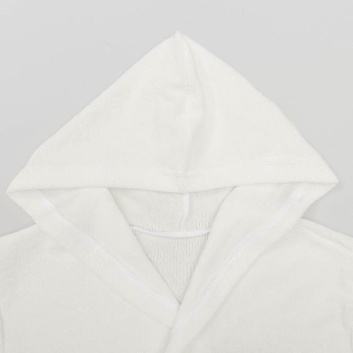 Халат махровый с капюшоном, рост 86-92 см, цвет белый 1431-52