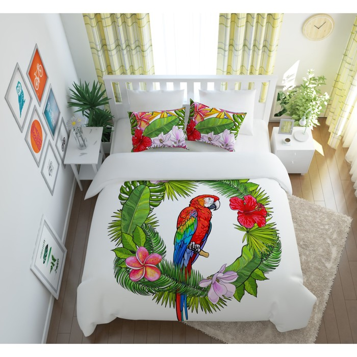 КПБ «Попугай в тропиках» евро, размер 220 × 240 см, 200 × 220 см, 50 × 70 см-2 шт