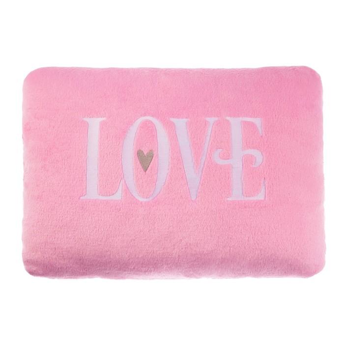 """Подушка """"Этель"""" Love розов, р-р 30х40 см, с вышивкой, 100% П/Э, велсофт"""