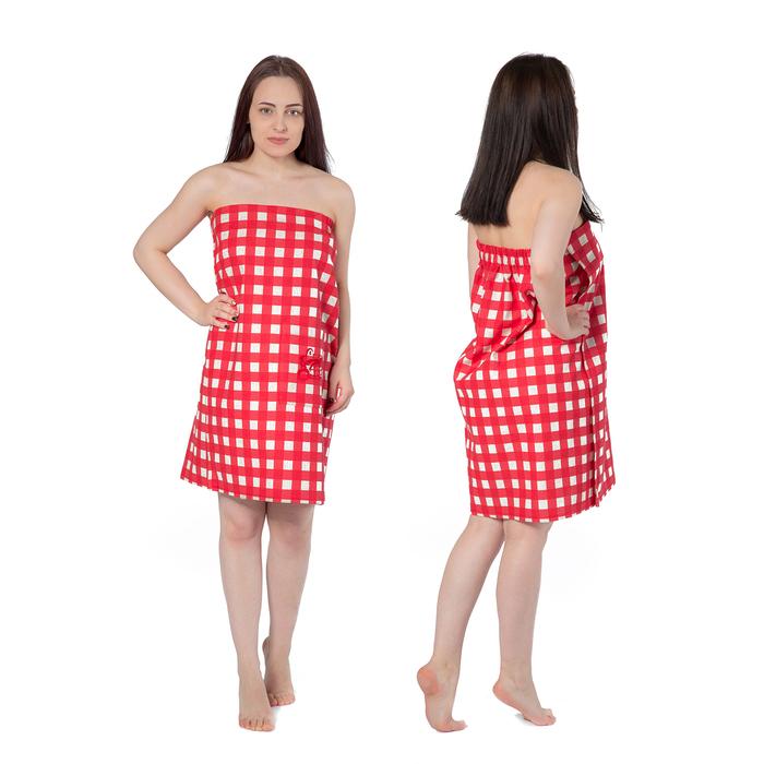 Килт(юбка) жен. вышивка, арт:КЛ-10В клетка красн, 75х145, полулен, Хл50%, лён50%, 160 г/м