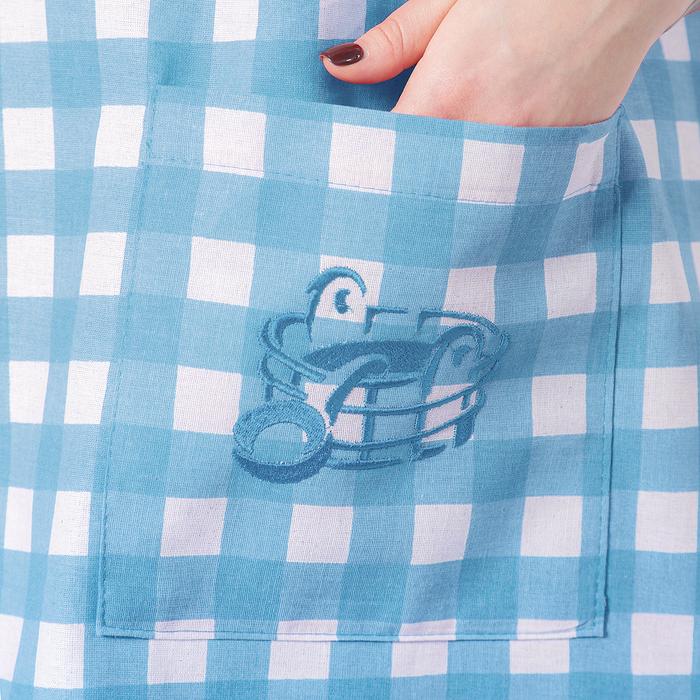 Килт(юбка) жен. вышивка, арт:КЛ-10В клетка синяя, 75х145, полулен, Хл50%, лён50%, 160 г/м