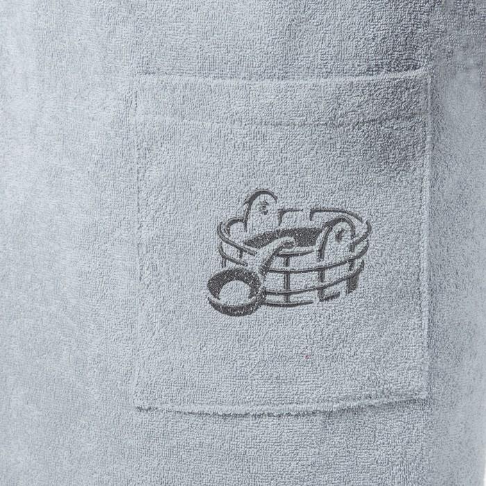 Килт(юбка) мужской махровый, с карманом, 70х150 серый