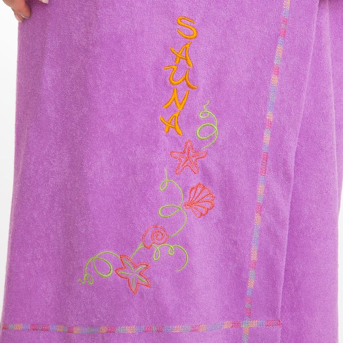 Килт(юбка) женский махровый с вышивкой 80х150см, сиреневый
