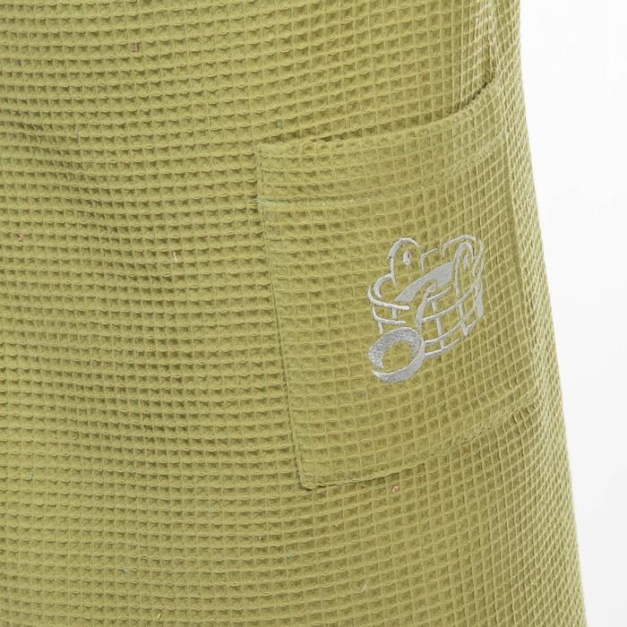 Килт(юбка) муж. вафельный однотон, вышивка, арт:КВ-5В олива, 70х150, Хл, 215 г/м