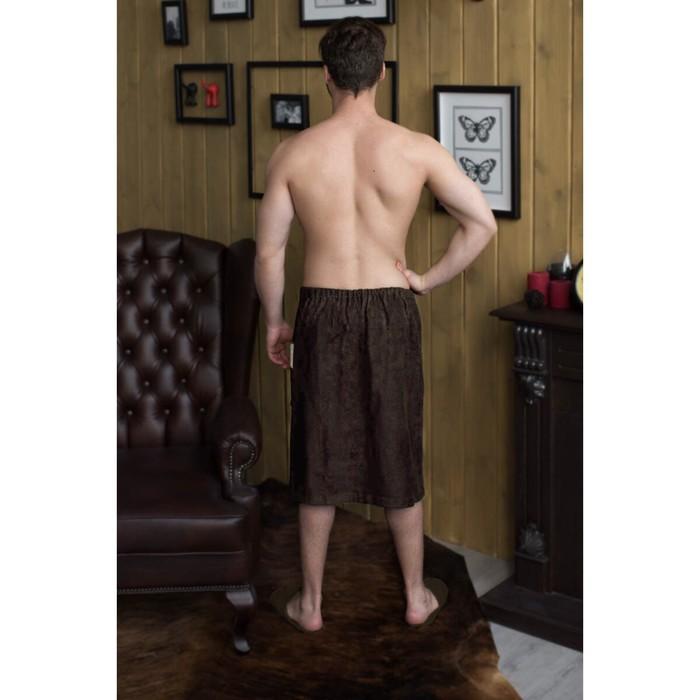 Килт мужской с вышивкой, шоколадный, махра