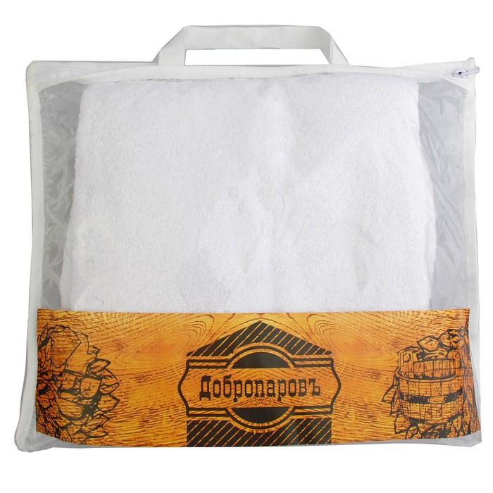 """Парео махровое """"Добропаровъ"""" белое, размер: 44-50 С БРЕТЕЛЬКАМИ"""