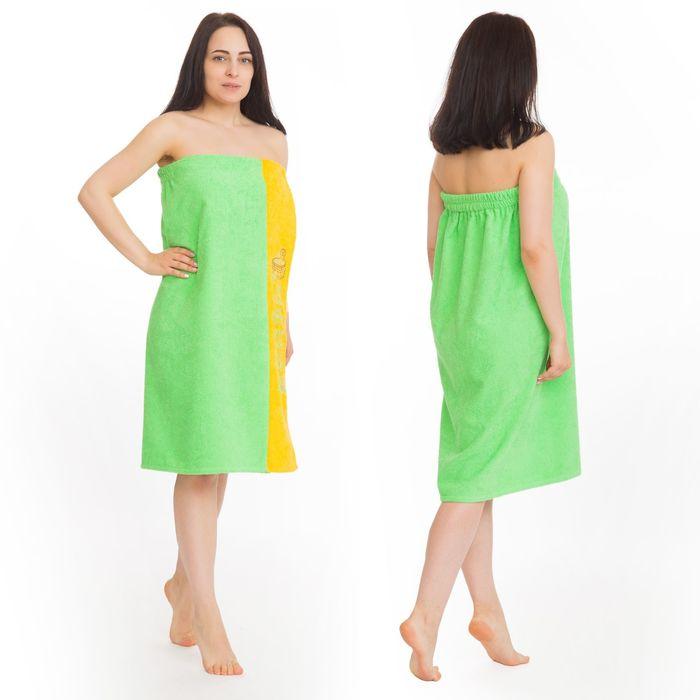 Килт(юбка) женский махровый, с вышивкой, 80х160 см, цвет зелёный