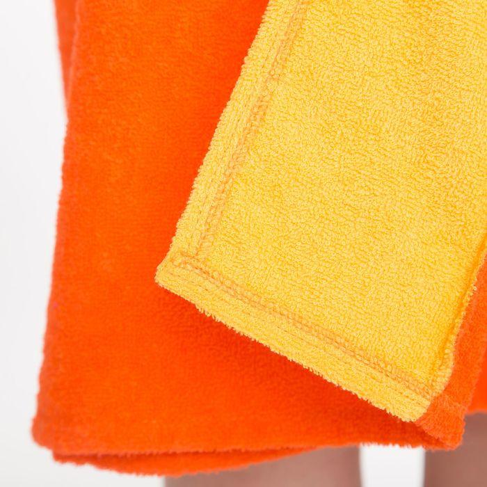 Килт(юбка) женский махровый, с вышивкой, 80х160 см, цвет оранжевый