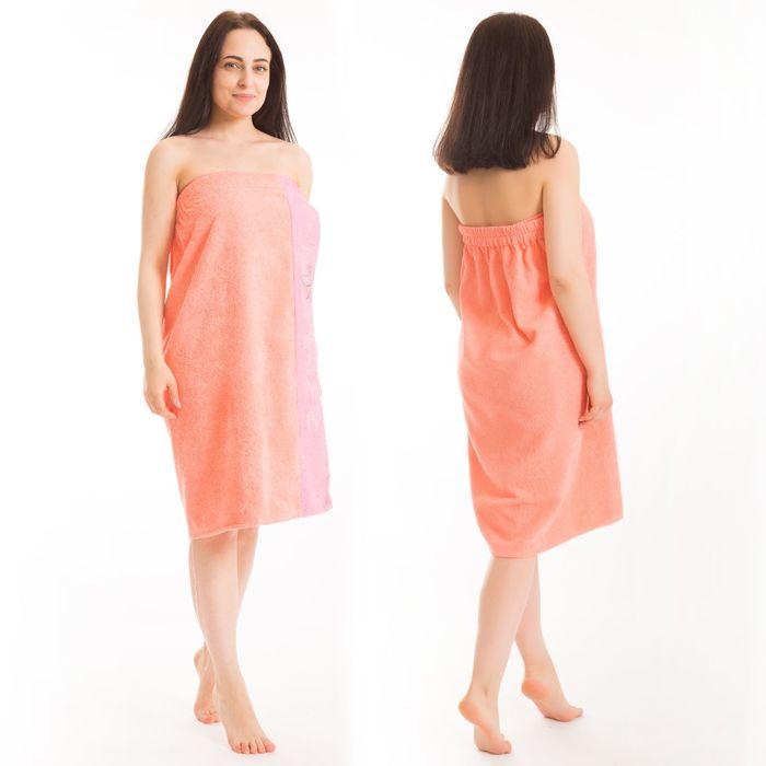 Килт(юбка) женский махровый, с вышивкой, 80х160 см, цвет персиковый