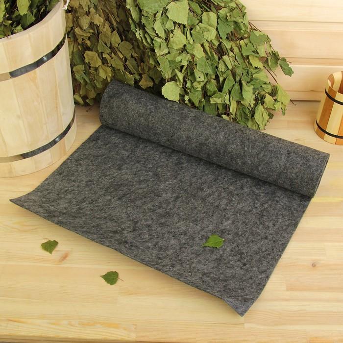 """Лежак для бани """"Скрутка"""" серый, войлок, 150х50см"""