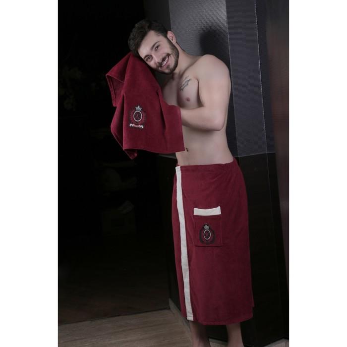 Набор мужской для сауны Koral (килт, полотенце), велюр, бордовый