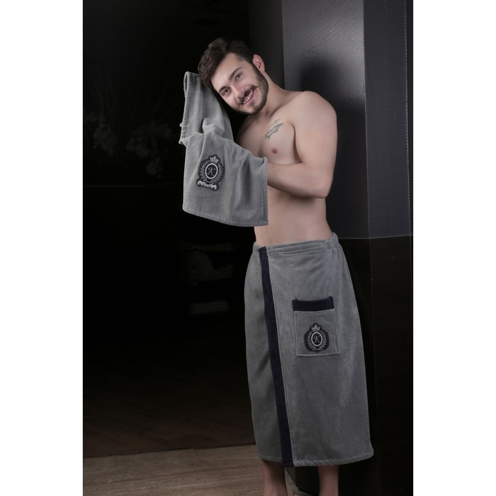 Набор мужской для сауны Koral (килт, полотенце), велюр, тёмно-серый