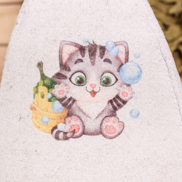 """Детский банный набор: шапка и мочалка """"Нашему котёнку"""""""