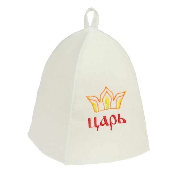 "Набор для бани ""Царь"" шапка, коврик, рукавица"