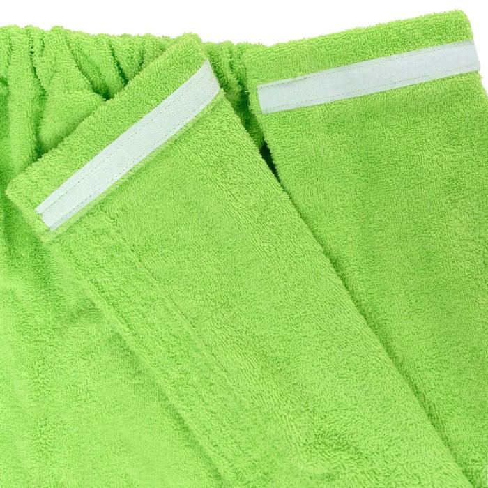 Набор д/сауны махр. жен (Килт(юбка)80х140 чалма, рукавица), цв.салатовый, 300г/м, хл100%