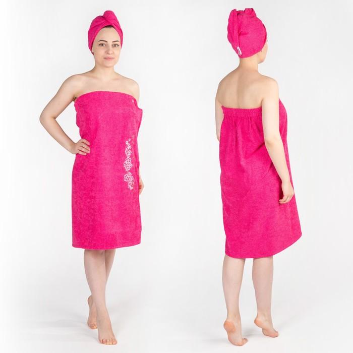 Набор д/сауны махр. жен. (Килт(юбка)(80х150+-2)+ чалма), цвет малиновый