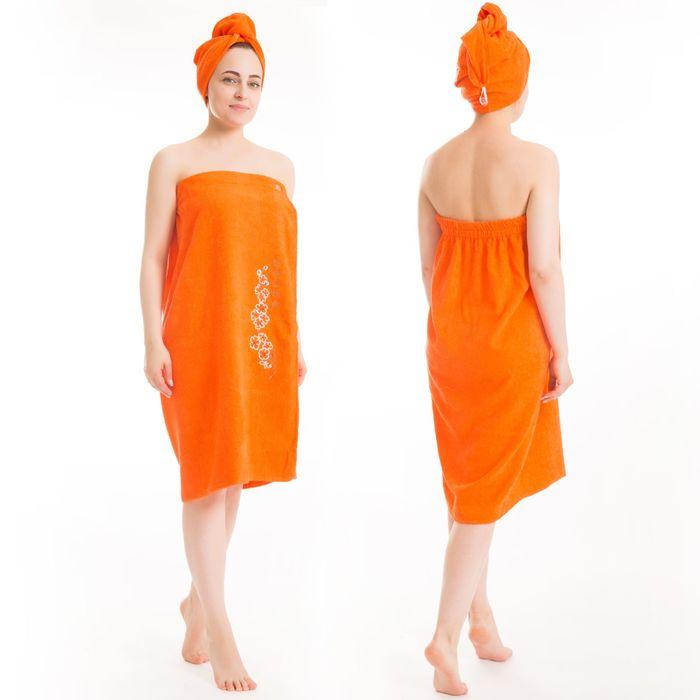Набор д/сауны махр. жен. (Килт(юбка)(80х150+-2)+ чалма), цвет оранжевый