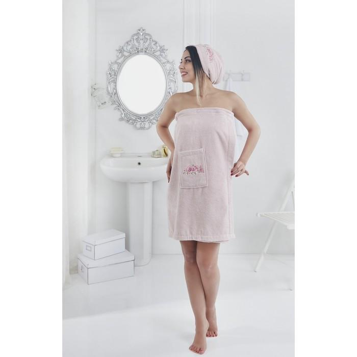 Набор для сауны Pera, парео 70х150 см, чалма 25х60 см, розовый, махра 380 г/м2 2607