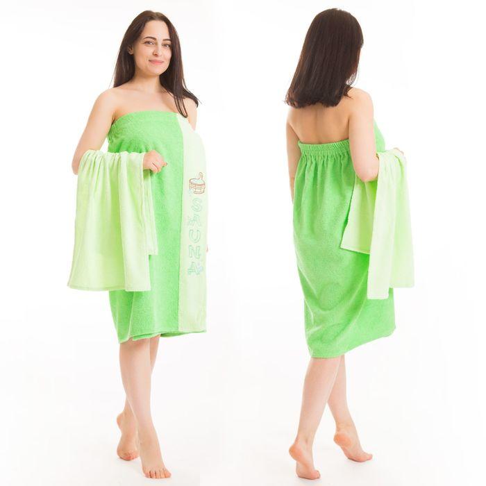 Набор д/сауны махр. жен (Килт(юбка)80х160, полотенце 50х90), цвет зелёный