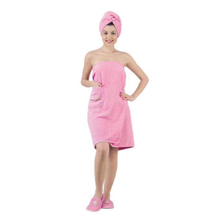 Набор для сауны женский KARNA PARIS, махра 380 г/м2, цвет грязно-розовый