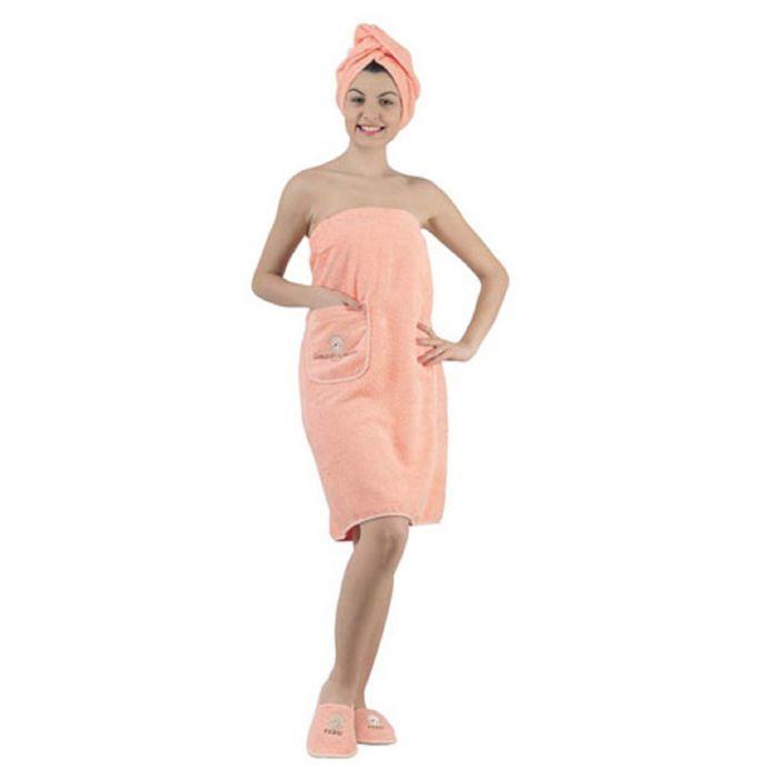 Набор для сауны женский KARNA PARIS, махра 380 г/м2, цвет абрикосовый