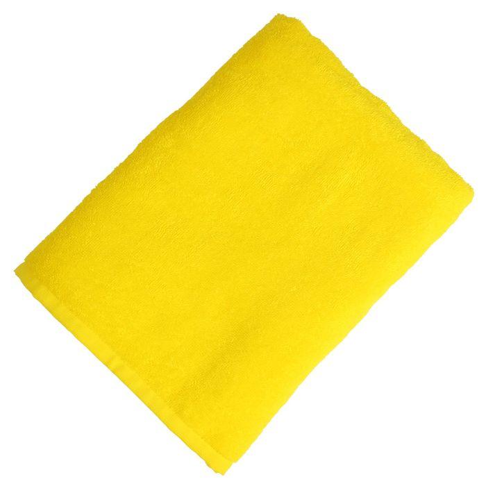 """Полотенце махровое """"Экономь и Я"""" 70*130 см жёлтый, 100% хлопок, 340 г/м2"""